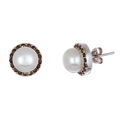 Imagen de Sterling Silver Oxidized Round Pearl Marcasite Post Earrings