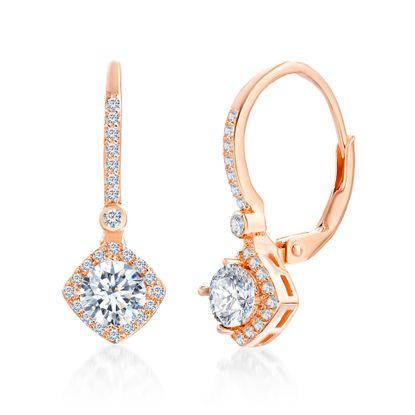 Imagen de Sterling Silver Cubic Zirconia Diamond Shape Design Lever back Earring