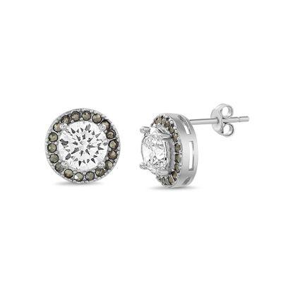 Imagen de Sterling Silver Cubic Zirconia Round Stone w/ Halo Post Earring