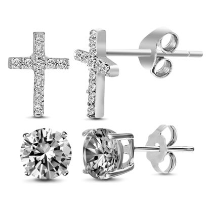 Imagen de Cubic Zirconia Cross & Stud Earring Set in Sterling Silver