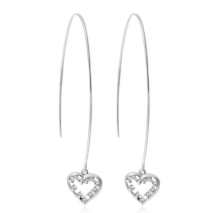Imagen de Cubic Zirconia Open Heart Threader Earring in Sterling Silver