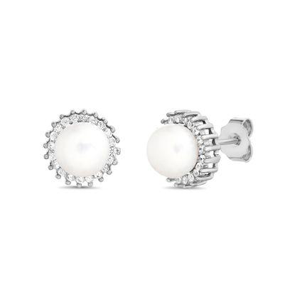 Imagen de Sterling Silver Cubic Zirconia Halo Freshwater Pearl 11mm Post Earring