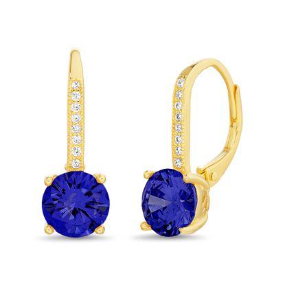 Imagen de Sterling Silver Blue/Clear Cubic Zirconia Leverback Earring