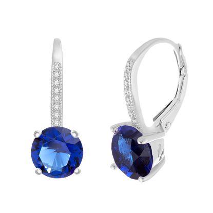 Imagen de Sterling Silver Cubic Zirconia SPPR Lever Back Earring