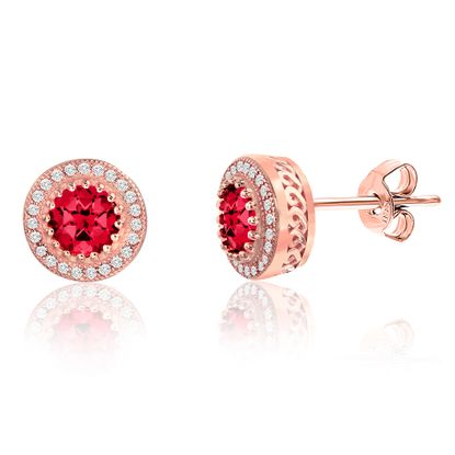 Picture of Pink Center Round Halo Post Earring