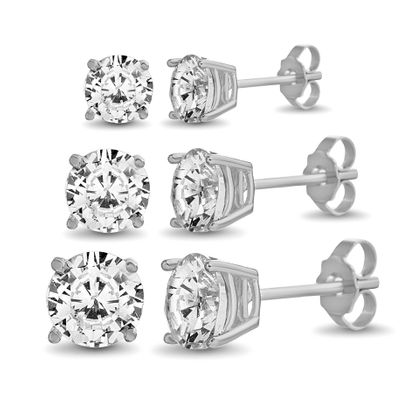 Imagen de Sterling Silver Cubic Zirconia 5/6/7mm Round Stud Earrings Set
