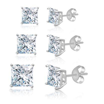 Imagen de Princess Cut 3 pair Stud Earring Set in Rhodium over Sterling Silver
