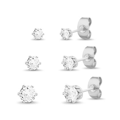Picture of Sterling Silver 3-Pair Cubic Zirconia Stud Post Earrings