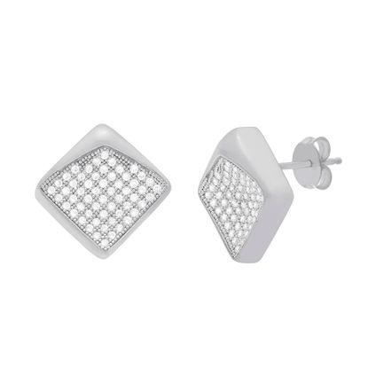 Imagen de Sterling Silver Cubic Zirconia Concave Square Design Post Earrings