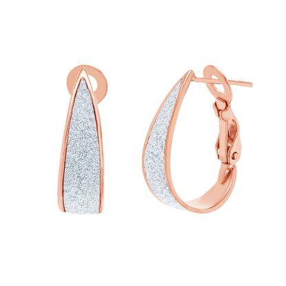 Imagen de Sterling Silver Glitter Oval Post Clip Earring