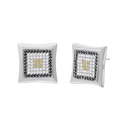 Imagen de Sterling Silver Cubic Zirconia 9X9 Square Pave Earrings