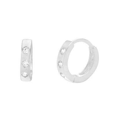 Imagen de Sterling Silver Bezel Cubic Zirconia Huggie Hoop Earrings
