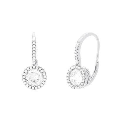 Imagen de Sterling Silver Clear Cubic Zirconia Halo Earring