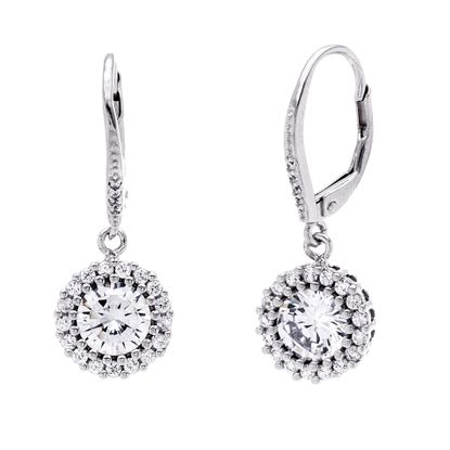 Imagen de Cubic Zirconia Halo Style Dangle Lever Back Earrings in Rhodium over Sterling Silver