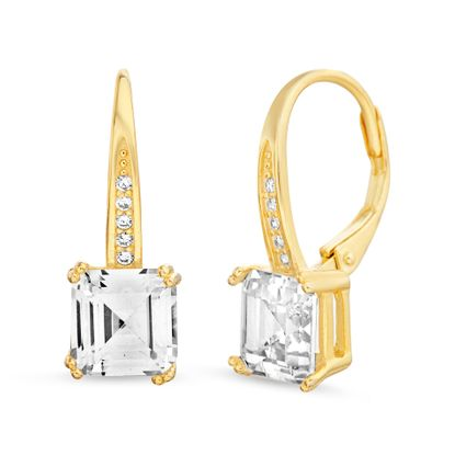 Imagen de Square Emerald Cut Cubic Zirconia Lever Back Earrings in Yellow Gold over Sterling Silver