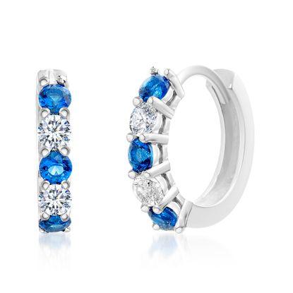 Imagen de Sterling Silver Blue/Clear Cubic Zirconia 15mm Huggie Earring