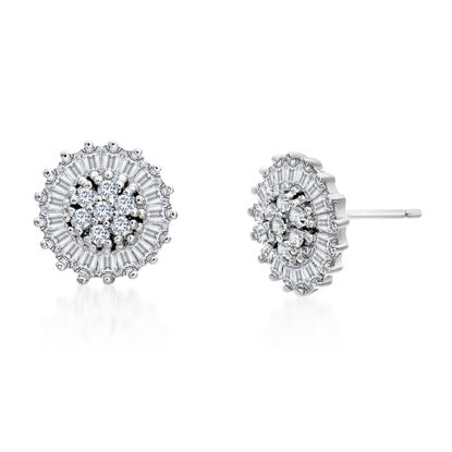 Imagen de Baguette and Round Cubic Zirconia Flower Stud Earrings in Rhodium over Sterling Silver