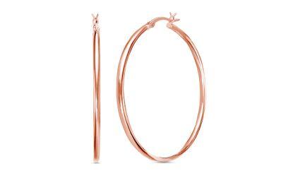 Imagen de Rose-Tone Sterling Silver Polished Hoop Earring