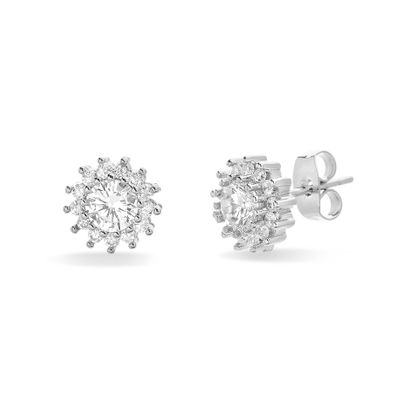Imagen de Cubic Zirconia Flower Shaped Halo Stud Earring Rhodium in Brass