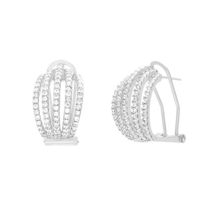 Picture of Sterling Silver Five Row Cubic Zirconia 17mm Post Clip Earring