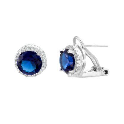 Imagen de Sterling Silver SPPR & Clear Cubic Zirconia Border Round Clip Post Earring