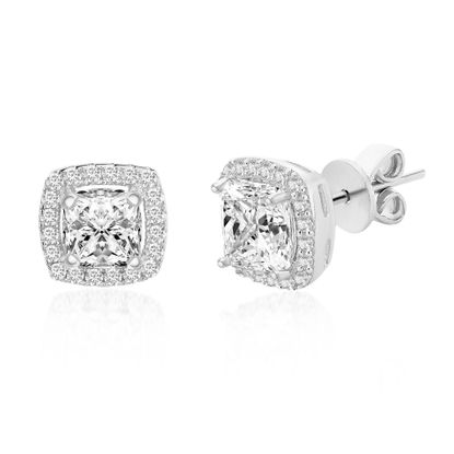 Imagen de Cubic Zriconia Cushion Shaped Halo Stud Earring in Rhodium over Sterling Silver