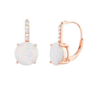 Imagen de Sterling Silver Cubic Zirconia Round White Opal Lever Back Earring