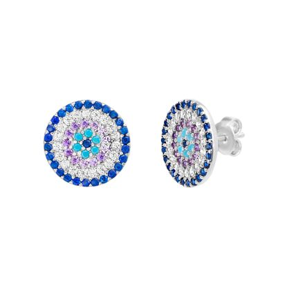 Imagen de Sterling Silver Turquoise/Blue/Purple/Clear Cubic Zirconia Evil Eye Disc Post Earring