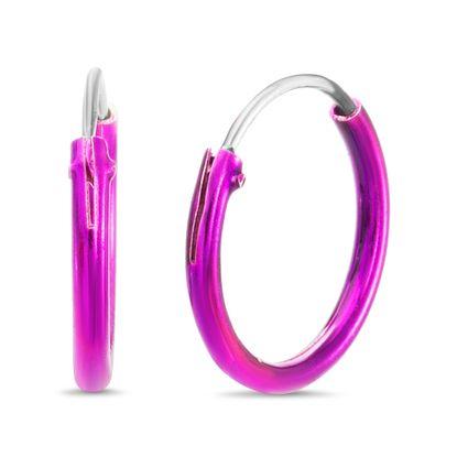 Imagen de Sterling Silver Purple Enamel Hoop Earring