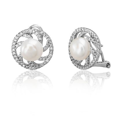 Picture of Sterling Silver Cubic Zirconia Swirl Design Freshwater Pearl Post Clip Earring