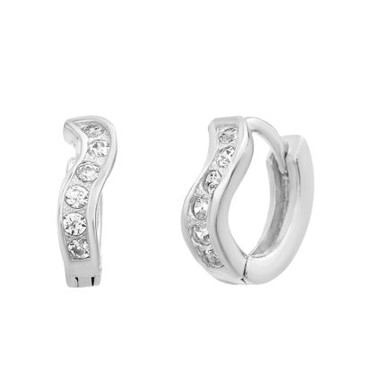Imagen de Sterling Silver Cubic Zirconia Wavy Design Huggie Earrings