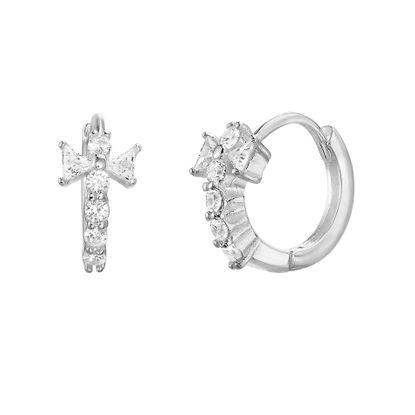 Imagen de Sterling Silver 12mm Round/Triangle Cubic Zirconia Cross Huggie Earring