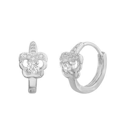 Imagen de Sterling Silver 13mm Cubic Zirconia Butterfly Huggie Earring