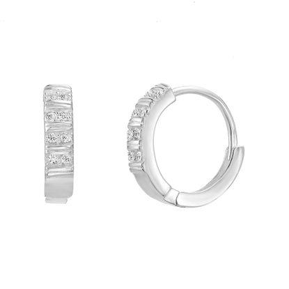 Imagen de Sterling Silver 15mm Quadruple Row Double Cubic Zirconia Huggie Earring