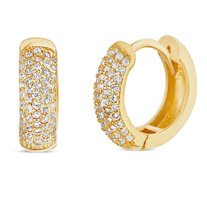 Imagen de Sterling Silver Cubic Zirconia Pave Huggie Earring