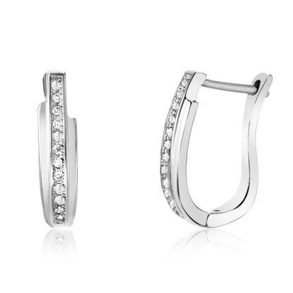 Imagen de Cubic Zirconia U Shaped Lever Back Earring in Sterling Silver