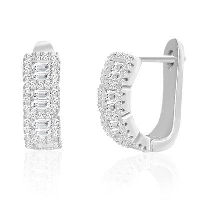 Imagen de Cubic Zirconia Hoop Earring in Sterling Silver