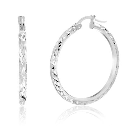 Imagen de Diamond Cut Design 30MM Hoop Earring in Sterling Silver