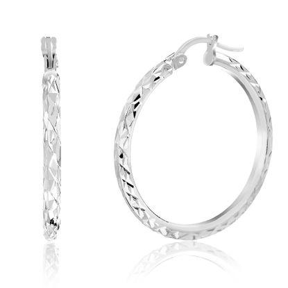 Picture of Diamond Cut Design 30MM Hoop Earring in Sterling Silver
