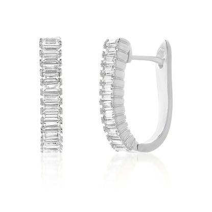 Imagen de Sterling Silver Baguette Cubic Zirconia Bar In and Out Earring