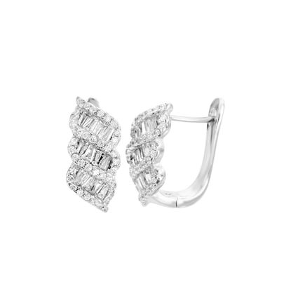 Picture of Sterling Silver Baguette/Round Cubic Zirconia Twist Design In and Out Earring