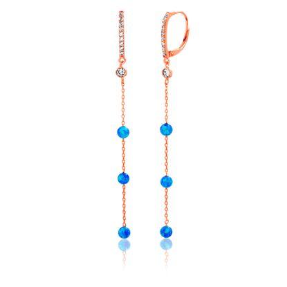 Imagen de Sterling Silver Cubic Zirconia/ Blue Opal Drop Down Lever back Earring