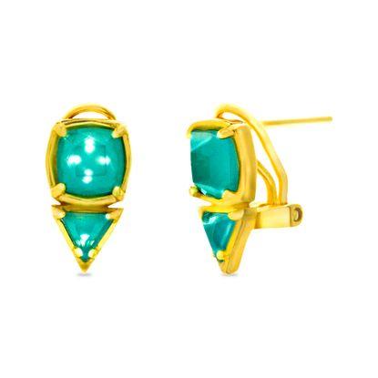Imagen de Sterling Silver Triangle/Square Mint Glass Clip Post Earring