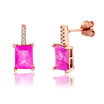 Imagen de Sterling Silver Cubic Zirconia Bar Rectangle Pink Stone Post Earring