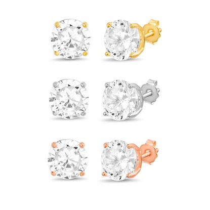 Imagen de Tri-Tone Sterling Silver Cubic Zirconia Trio Post Earring Set