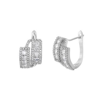Imagen de Cubic Zirconia Double Bar Hoop Earring in Sterling Silver