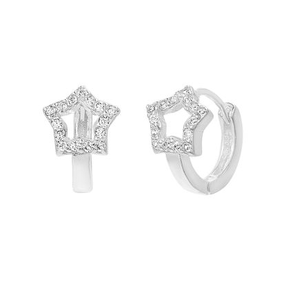 Imagen de Sterling Silver Cubic Zirconia Open Star Design Huggie Earring