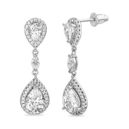 Picture of Sterling Silver Cubic Zirconia Dangling Teardrop Stud Post Earring