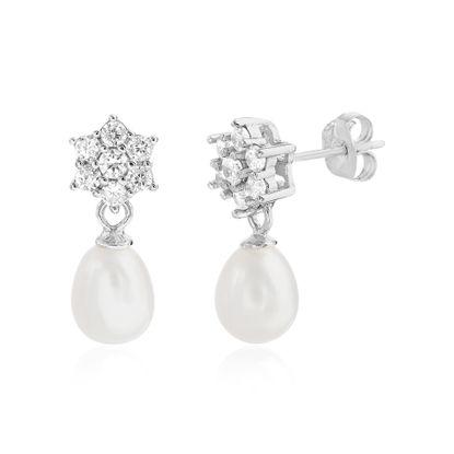Imagen de Sterling Silver Pave Cubic Zirconia Star Stud Dangling Freshwater Pearl Post Earring