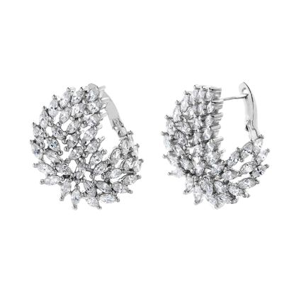 Imagen de Sterling Silver Pave Marquise Cubic Zirconia Feather Front to Back Earring